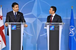 100325a-005 Visit to NATO by President Mikhail Saakashvili of Georgia - bilateral meeting and joint press point with NATO Secretary General, Anders Fogh Rasmussen