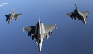 French Rafale (R and C) jets and a Mirag