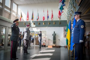 """Colonel General Viktor Muzhenko (left), Ukrainian Chief of General Staff, and General Werner Freers (right), Chief of Staff at Supreme Headquarters Allied Powers Europe, render honours during the Welcome Ceremony at SHAPE, Belgium on May 21, 2015. During this visit, they discuss the situation in Ukraine, the possible fields of cooperation and necessary reforms. (NATO photo by Edouard Bocquet)"""