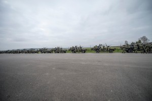 """""""Czech Soldiers from the 43rd Airborne Battalion, 2nd Company prepare their vehicles in a staging area enroute to the Pardubice Airfield in Chrudim, Czech Republic, April 9, 2015. Exercise Noble Jump marks the first time that high-readiness units have physically tested their response to rapid 'orders to move' under the new VJTF framework.  The training event marks a learning process that will allow NATO military staff to identify both successes and shortfalls as the Alliance continues to refine its high readiness capabilities. (NATO Photo by Staff Sgt. Andrew Davis, USAF)"""""""