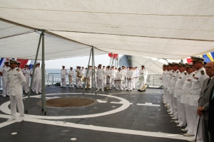 08Jun2015 Lisbon, Portugal - Panoramic view with the oficial entities, guests and crews of SNMG1 ships at the helipad of the Group flagship, NRP D. FRANCISCO DE ALMEIDA